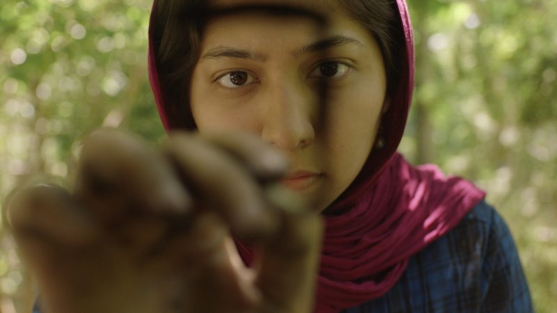 """A still from """"A Way of Breathing"""". A young girl holds her hand up to the camera. Her eyes are focused on her hand, which is holding a pen. She is writing something on the lens. She wears a pink head scarf. Behind her are dappled trees."""