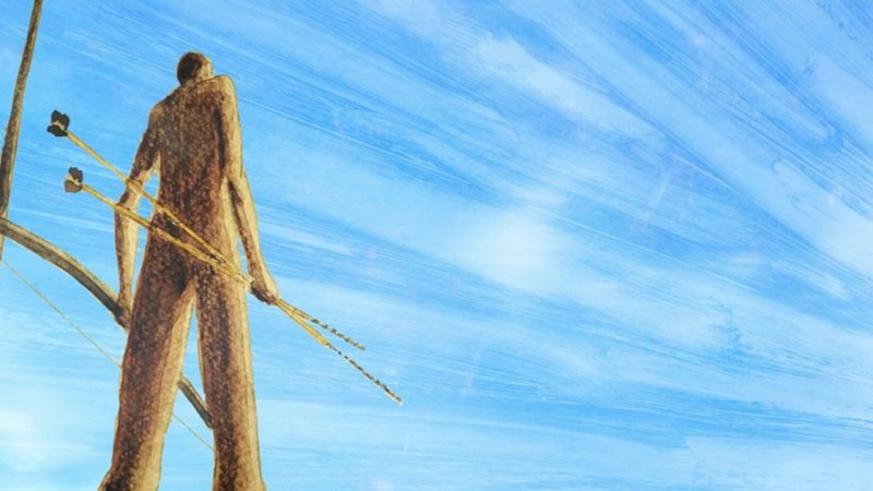 """A still from """"And That Is How the Rivers Came To Be"""". An animated scene. A tall figure is shown from below, holding a large bow and two long arrows. They stand against a bright blue sky that has been painted in dynamic strokes that sweep away from the figure."""