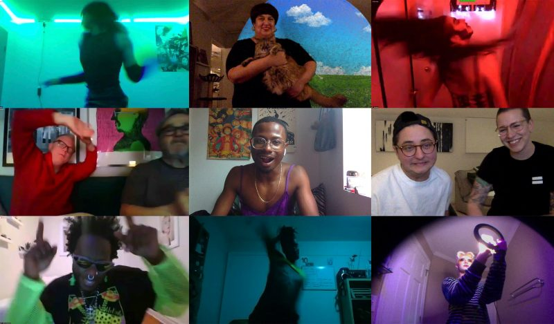 """A still from """"Club Quarantine"""". A grid shows nine webcam views capturing people partaking in an online party, each in their own homes. Rooms are personalised, some lit in green, red and purple light reminiscent of club interiors. The individuals are caught mid-dance, such as with hands raised or bodies spinning."""