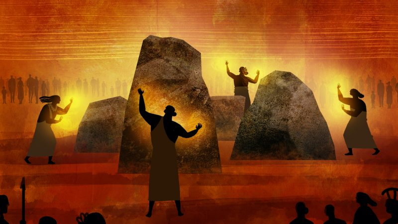 """A still from """"Kapaemahu"""". An animated scene. Four figures stand around four large rocks of varying sizes arranged in a square formation. A golden glow eminates from the rocks and the figure's raised hands. Surrounding them in the background and foreground are many figures sillhouetted against an abstract background of warm red."""